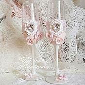 Свадебный салон ручной работы. Ярмарка Мастеров - ручная работа Бокалы в нежно-розовой гамме. Handmade.