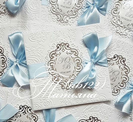 Свадебные аксессуары ручной работы. Ярмарка Мастеров - ручная работа. Купить Нежнейшие приглашения серебро и голубой. Handmade. Голубой