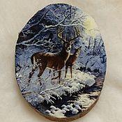 Картины и панно handmade. Livemaster - original item Panel Winter morning in the forest. Handmade.