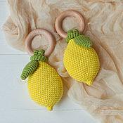 Работы для детей, handmade. Livemaster - original item Copy of Copy of Wooden teething ring with crochet pear. Handmade.