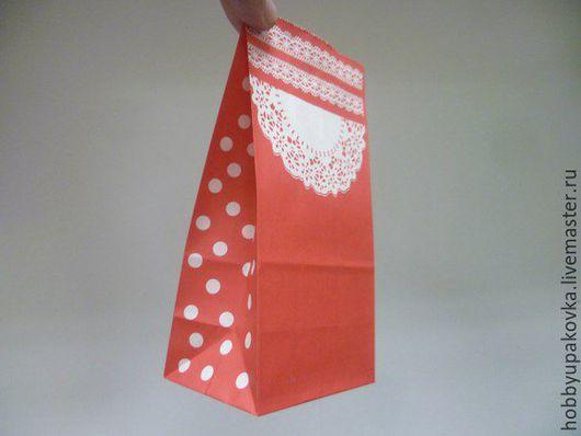 """Упаковка ручной работы. Ярмарка Мастеров - ручная работа. Купить Пакет 18х9х6 см  """"Ажур"""" (красный) крафт. Handmade."""