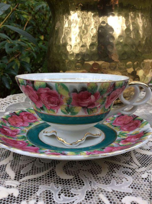 Винтажная посуда. Ярмарка Мастеров - ручная работа. Купить Чайная пара с Розами, Коллекционный Фарфор, Chase США. Handmade. Разноцветный