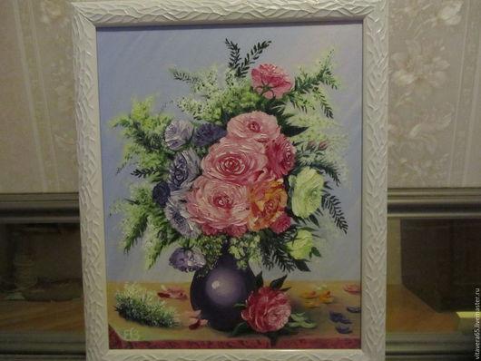 Картины цветов ручной работы. Ярмарка Мастеров - ручная работа. Купить Нежные красивые розы в вазе с черемухой.. Handmade. Розовый