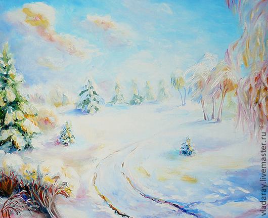 Картина `Зимнее утро. Декабрь` 40*50 см. Доставка по всему миру авиа почтой бесплатно.  Картина - красивый подарок на день рождения, свадьбу, юбилей, Рождество, Новый Год. Подарок для девушки.