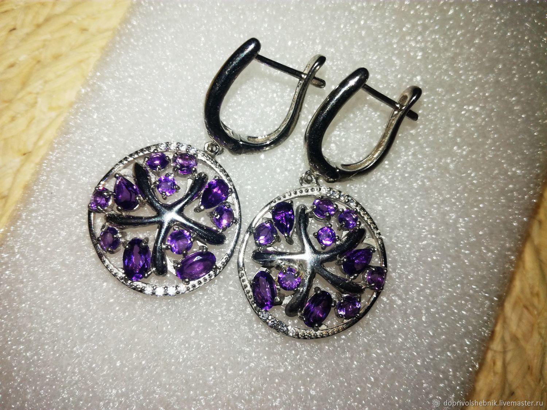 Earrings 'Starfish' with amethysts, Earrings, Novaya Usman,  Фото №1