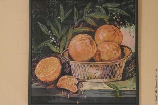 Натюрморт ручной работы. Ярмарка Мастеров - ручная работа. Купить Orange juice. Handmade. Оранжевый, шелк 100%, натюрморт, шёлк