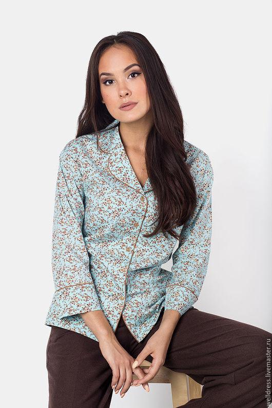 Блузки ручной работы. Ярмарка Мастеров - ручная работа. Купить Блуза с кантом, цветочная. Handmade. Комбинированный, пижамный стиль