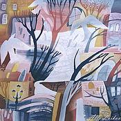 """Аксессуары ручной работы. Ярмарка Мастеров - ручная работа Батик Шелковый платок """"Раннее утро"""". Handmade."""