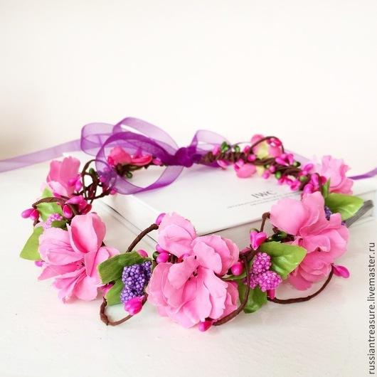 """Диадемы, обручи ручной работы. Ярмарка Мастеров - ручная работа. Купить Веночек на голову """"Розовый Фламинго"""". Handmade. Фуксия, венок"""