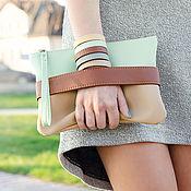 """Сумки и аксессуары handmade. Livemaster - original item Клатч """"CarryMe"""", мятная сумочка через плечо. Мятный клатч. Эко кожа. Handmade."""