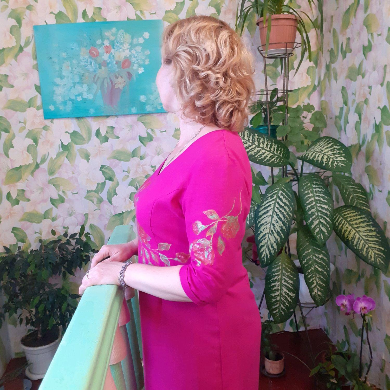 Платье из льна с авторской росписью, Платья, Темрюк,  Фото №1