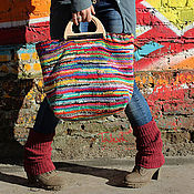 Сумки и аксессуары handmade. Livemaster - original item Knitted bag with wooden handles