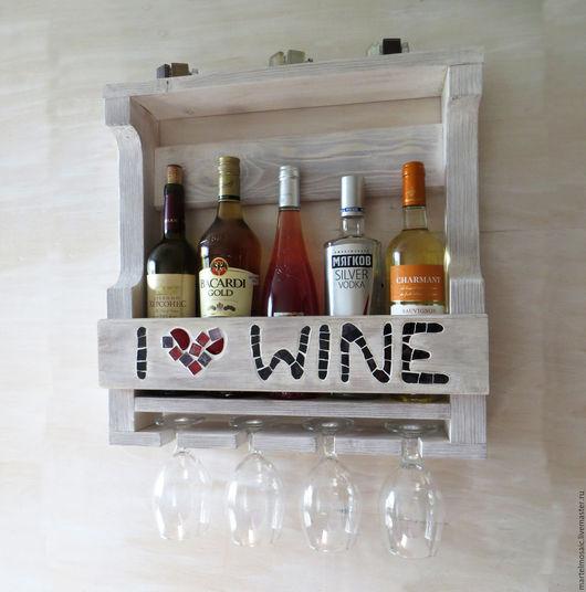 """Мебель ручной работы. Ярмарка Мастеров - ручная работа. Купить Винная полка в стиле прованс """"I love wine"""". Handmade."""