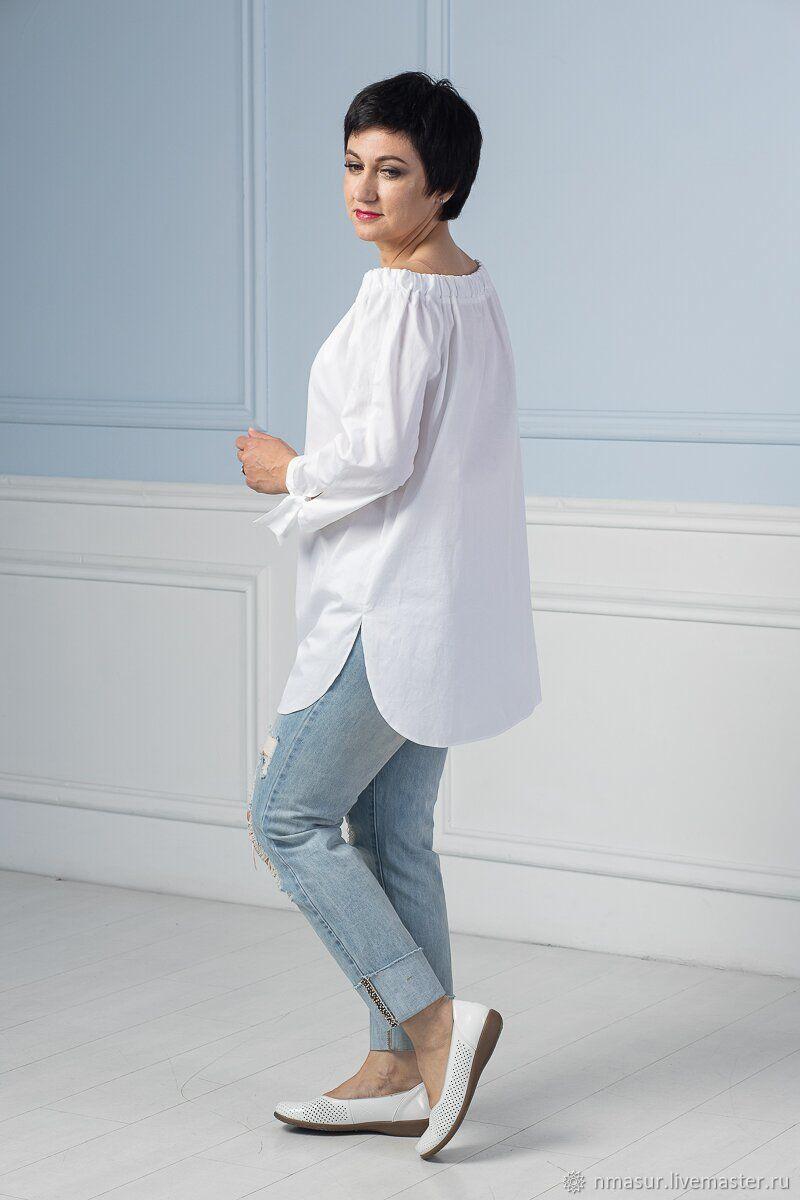 daeb053ce0f8 Белая Блузка Туника с открытыми плечами – купить в интернет-магазине на  Ярмарке ...
