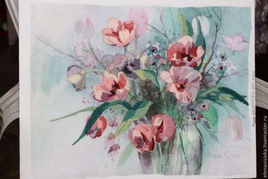 Картины цветов ручной работы. Ярмарка Мастеров - ручная работа. Купить Вышитая картина ВЕСЕННИЕ цветы. Handmade. Картина, букет
