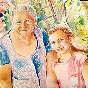 Картины и панно ручной работы. Ярмарка Мастеров - ручная работа Акварельный портрет Бабушка и внучка. Handmade.