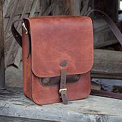 Сумки и аксессуары ручной работы. Ярмарка Мастеров - ручная работа Мужская сумка Кожа А4,  через плечо, под планшет, рыжая. Handmade.