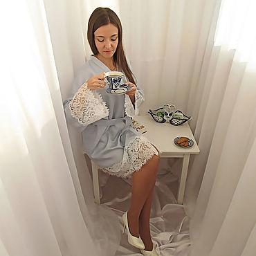 """Одежда ручной работы. Ярмарка Мастеров - ручная работа Комплект кимоно и сорочка из голубого тенсела """"Нежность"""". Handmade."""