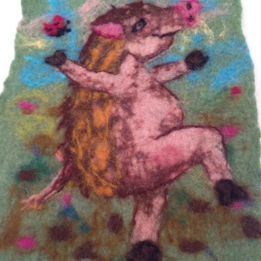 Животные ручной работы. Ярмарка Мастеров - ручная работа. Купить Валяная картина для детской Поросенок в колючей шубке. Handmade.
