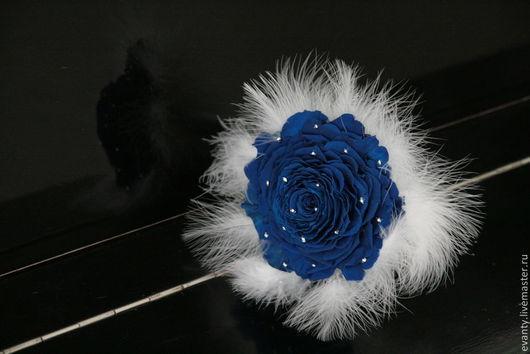 """Свадебные цветы ручной работы. Ярмарка Мастеров - ручная работа. Купить букет розамелия """"синяя роза"""". Handmade. Тёмно-синий"""