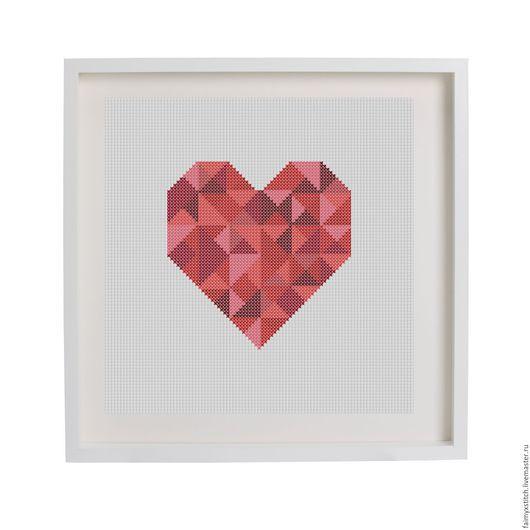 """Вышивка ручной работы. Ярмарка Мастеров - ручная работа. Купить Схема для вышивки крестом """"Пиксельное сердце"""". Handmade. Ярко-красный"""