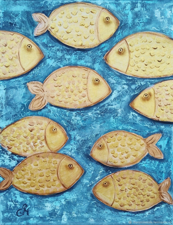 Картина Золотые рыбки интерьерная картина с золотом фен-шуй рыбы, Картины, Череповец,  Фото №1