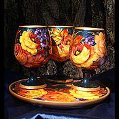Наборы посуды ручной работы. Ярмарка Мастеров - ручная работа Наборы посуды: Бокалы на подносе. Handmade.
