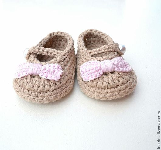 Для новорожденных, ручной работы. Ярмарка Мастеров - ручная работа. Купить Пинетки-туфельки для девочки бежевые с розовым бантиком. Handmade.