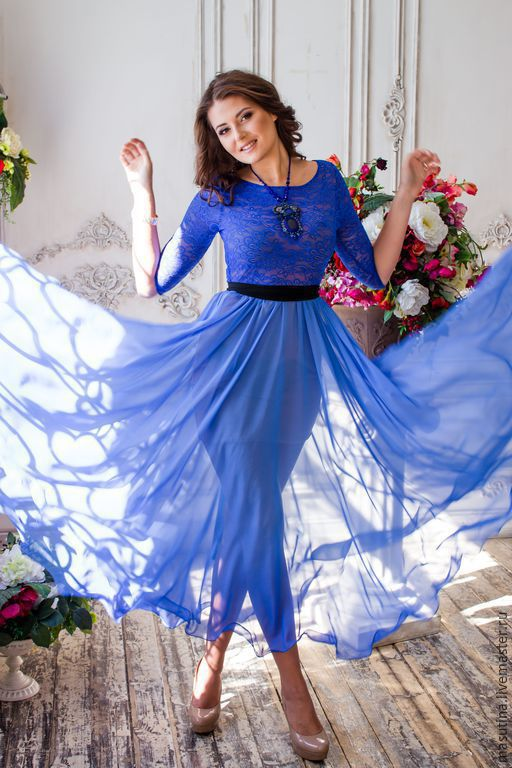 """Платья ручной работы. Ярмарка Мастеров - ручная работа. Купить Платье """"Богиня"""". Handmade. Синий, платье на выход, гипюр"""