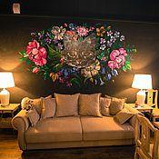 """Дизайн и реклама ручной работы. Ярмарка Мастеров - ручная работа Роспись стены в хостеле """"Кошка"""". Handmade."""