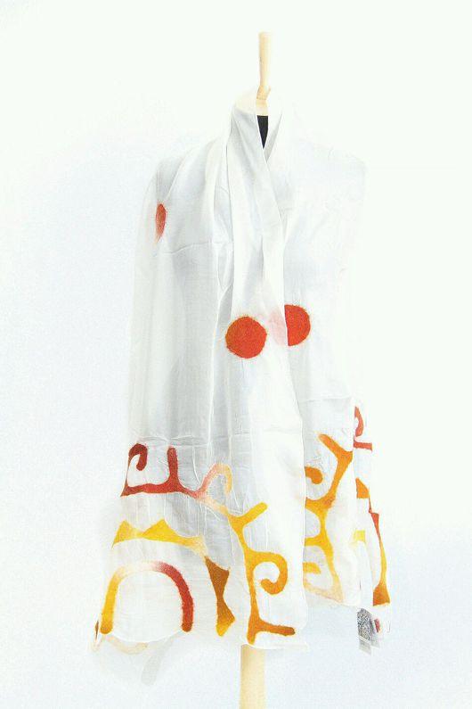 Шарфы и шарфики ручной работы. Ярмарка Мастеров - ручная работа. Купить Шелковый шарф. Handmade. Фуксия, Шарф с рисунком, шерсть
