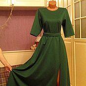 Одежда ручной работы. Ярмарка Мастеров - ручная работа Трикотажное платье макси с разрезом Изумруд. Handmade.