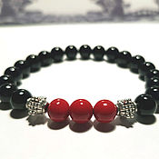 Bead bracelet handmade. Livemaster - original item Red coral bracelet made of natural black agate and coral.. Handmade.