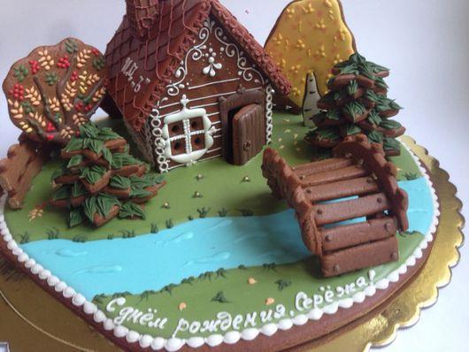 Кулинарные сувениры ручной работы. Ярмарка Мастеров - ручная работа. Купить Пряничный домик с речкой и мостиком. Handmade.
