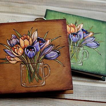 """Stationery handmade. Livemaster - original item Sketchbook wood cover 16x16sm """"Crocuses"""". Handmade."""