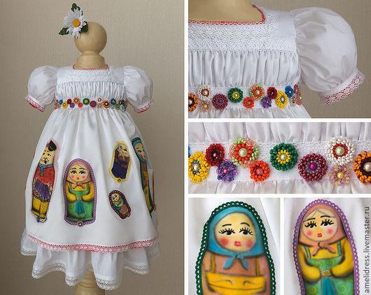 Одежда для девочек, ручной работы. Ярмарка Мастеров - ручная работа. Купить Нарядное платье. Handmade. Белый, орнамент, матрешка