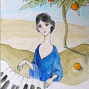Картины и панно handmade. Livemaster - original item Sicily, Piano and Mandarin tree Watercolor drawing 10h15 cm. Handmade.