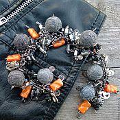 Украшения handmade. Livemaster - original item Bracelet on a Chain Free Youth Style Grey Textile Jeans. Handmade.