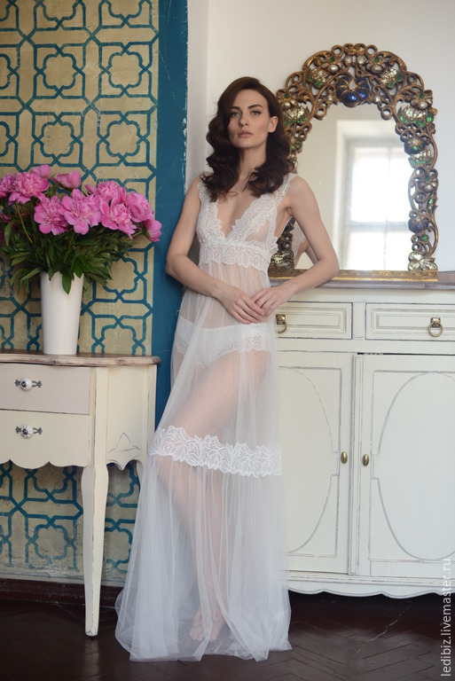 197f0c20d34 Underwear   Pajamas handmade. Livemaster - handmade. Buy Long Tulle Bridal  Nightgown With Lace ...