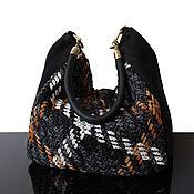 Классическая сумка ручной работы. Ярмарка Мастеров - ручная работа Tweed bag Черная замшевая сумка, сумка из твида. Handmade.