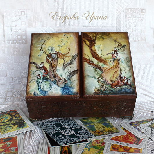 Шкатулки ручной работы. Ярмарка Мастеров - ручная работа. Купить Шкатулка для карт Таро. Handmade. Разноцветный, магия, коробка для карт
