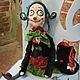 """Человечки ручной работы. Ярмарка Мастеров - ручная работа. Купить Авторская кукла """"Клоунесса Веня"""". Handmade. Зеленый, кролик"""