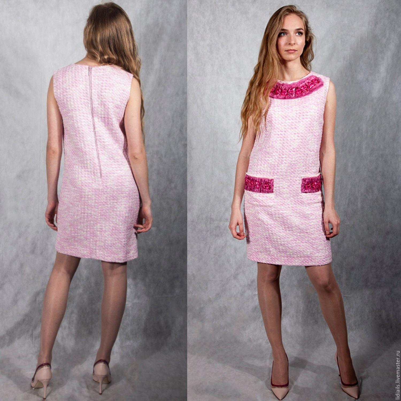Dresses Handmade Livemaster Pink Chanel Dress Sleeveless Pale