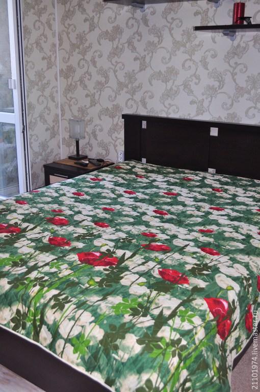 """Текстиль, ковры ручной работы. Ярмарка Мастеров - ручная работа. Купить Покрывало """"На лугу"""". Handmade. Зеленый, покрывало на кровать"""