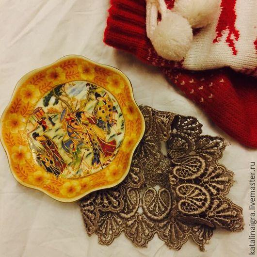 Винтажные предметы интерьера. Ярмарка Мастеров - ручная работа. Купить Японская тарелка на стену. Handmade. Желтый, тарелка на стену