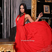 Одежда ручной работы. Ярмарка Мастеров - ручная работа Красное платье с открытой спиной. Handmade.