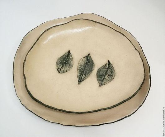 """Тарелки ручной работы. Ярмарка Мастеров - ручная работа. Купить Тарелки """"Листья"""". Handmade. Белый, посуда ручной работы, листья"""