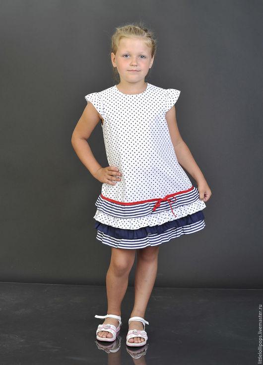 Одежда для девочек, ручной работы. Ярмарка Мастеров - ручная работа. Купить Платье для девочки в морском стиле. Handmade. Комбинированный