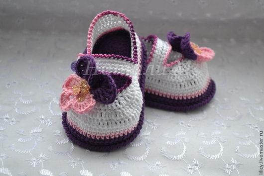 """Для новорожденных, ручной работы. Ярмарка Мастеров - ручная работа. Купить Туфельки """"Анютины глазки """". Handmade. Разноцветный"""