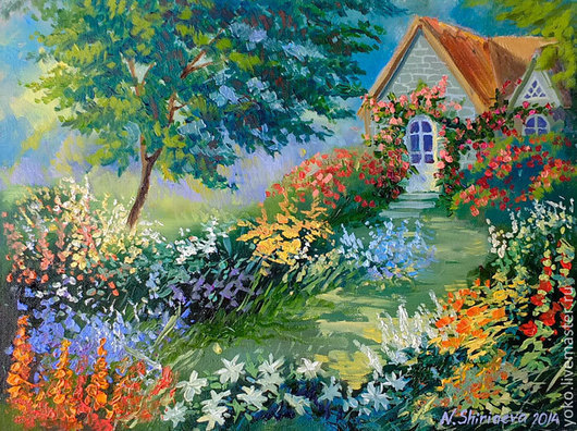 """Пейзаж ручной работы. Ярмарка Мастеров - ручная работа. Купить """"Июльский вечер на даче"""" картина маслом. Handmade. Голубой"""